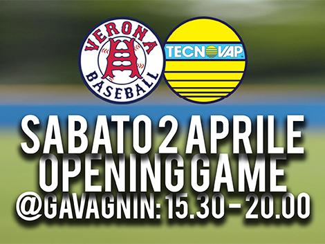SABATO 2 APRILE: OPENING GAME